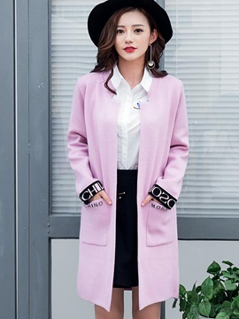 Stylish Letters Jacquard Knitted Trench Coat