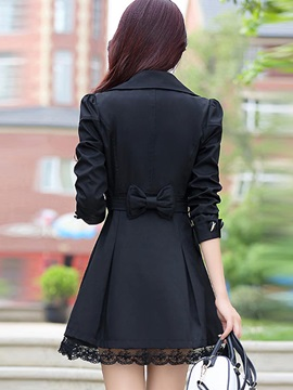 Stylish Multi Color Lace Up Lapel Trench Coat