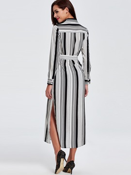 Stripe Lace-Up Long Sleeve Trench Coat