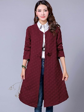 Stylish Cheongsam Button Decorated Trench Coat