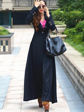 Stylish Lapel Super Long Trench Coat