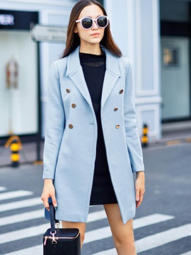 Simple Plain Lace Up Casual Trench Coat