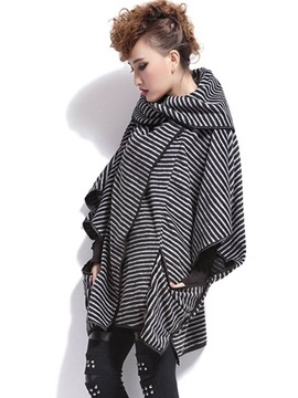 Chic Stripe Shaped Mid-Length Trench Coat