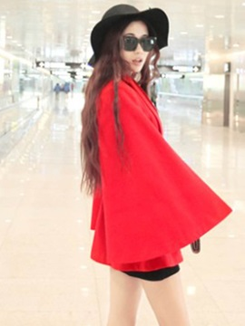 Stylish Plain Belt Caped Trench Coat