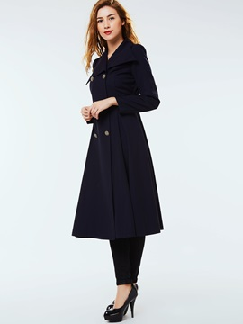 Stylish Double-Breasted Lapel Slim Trench Coat