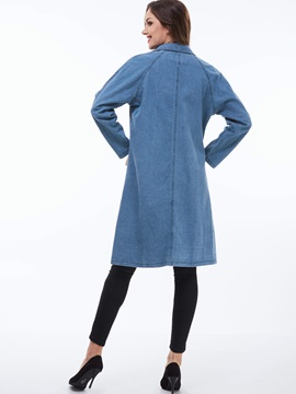 Stylish Single-Breasted Denim Trench Coat