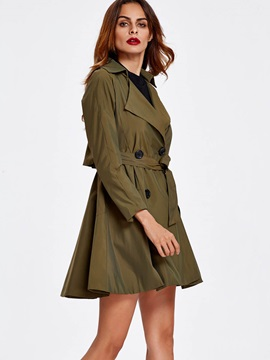 Stylish Lace-Up Peplum Trench Coat