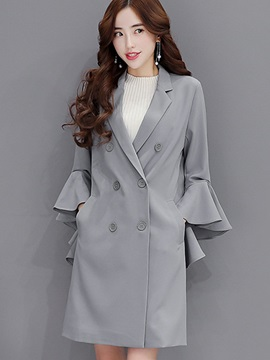 Stylish Flare Sleeve Slim Trench Coat