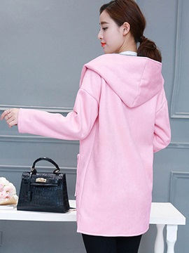 Stylish Pure Color Hooded Trench Coat