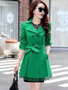 Stylish Lace Slim Trench Coat
