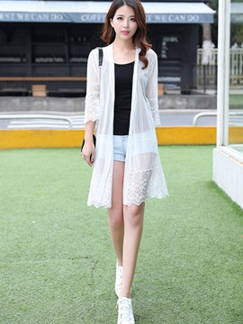 Lace See Through Mid-Length Trench Coat