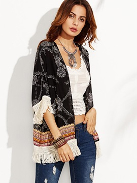 Bohoartist Print Tassel Thin Trench Coat