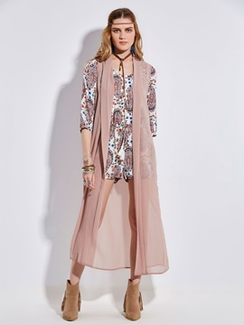 Bohoartist Thin Chiffon Plain Trench Coat