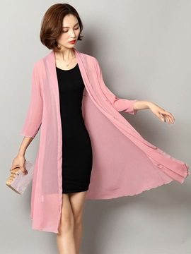 Thin Plain Long Chiffon Women's Trench Coat