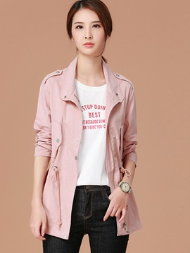 Loose Lapel Zipper Mid-Length Trench Coat
