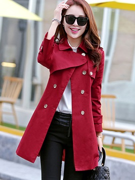 Lapel Plain Double Breasted Trench Coat