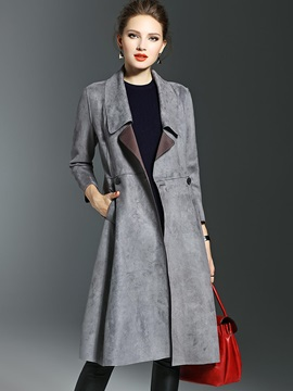 Mid-Length Wide Lapel Button Plain Women's Trench Coat