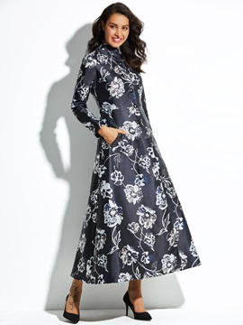 Stand Collar Floral Print Single-Breasted Women's Trench Coat