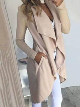 Asymmetrical Long Sleeves Women's Trench Coat
