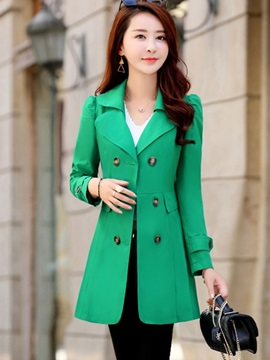 Mid-Length Notched Long Sleeve Slim Trench Coat