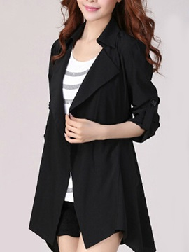 Lapel Long Sleeve Plain Women's Trench Coat