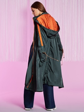 Loose Drawstring Hooded Women's Long Trench Coat