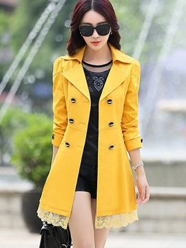 Lace Double-Breasted Winter Lapel Women's Trench Coat