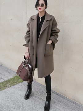Long Sleeve Lapel Loose Patchwork Plain Women Trench Coat