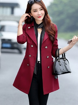 Plain Double-Breasted Mid-Length Trench Coat