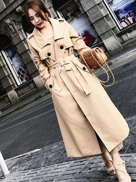 Lapel Plain Long Regular Women Trench Coat