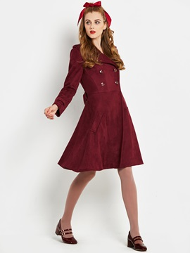 Lace-Up Long Sleeve Mid-Length Women's Trench Coat