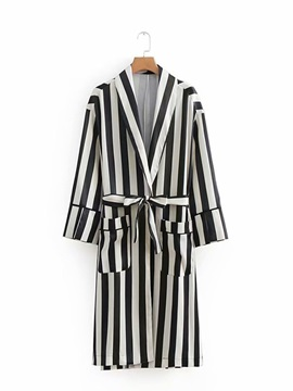 Stripe Long Loose Women's Trench Coat