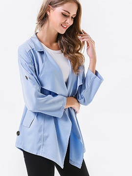 Mid-Length Plain Loose Wrapped Women's Trench Coats