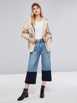 Hooded Mid-Length  Up Women's Trench Coat