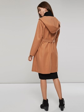 Lace Up Pocket Notched Lapel Women's Trench Coat