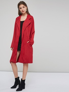 Belt Suede Loose Women's Long Wrapped Trench Coat