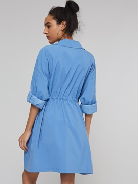 Single-Breasted Button Straight Mid-Length Women's Overcoat