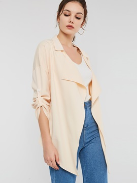 Notched Lapel Mid-Length Thin Wrapped Women's Trench Coat