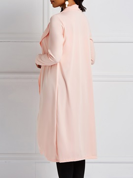 Mid-Length Wrapped Plain Thin Women's Trench Coat