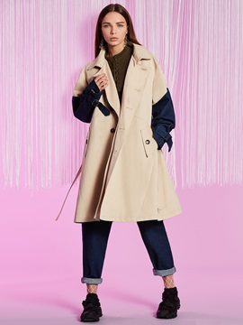 Double-Breasted Lapel Patchwork Long Sleeve Women's Trench Coat