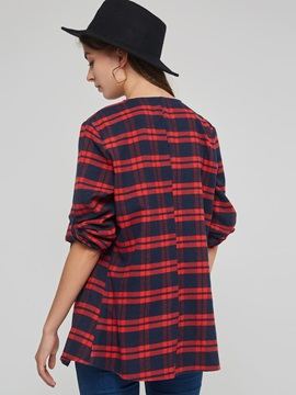 Plaid Wrapped Fall Lapel Women's Wrapped Trench Coat