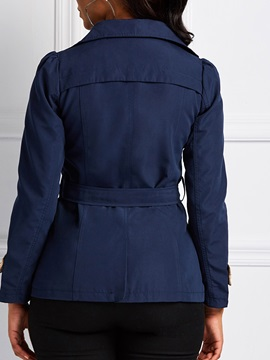 Double-Breasted Mid-Length Notched Lapel Short Women's Trench Coat