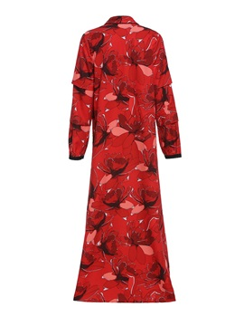 Print Floral Lace-Up Long Women's Trench Coat