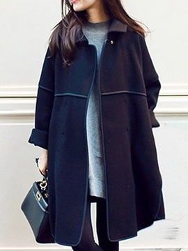 Lapel Pocket Mid-Length Loose Winter Women's Trench Coat