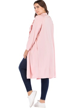 Plus Size Notched Lapel Long Sleeve Women's Trench Coat