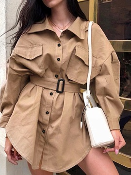 Lapel Single-Breasted Mid-Length Loose Women's Trench Coat