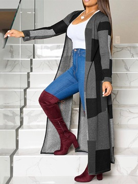 Long Loose Color Block Women's Trench Coat