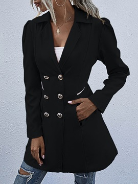 Button Mid-Length Double-Breasted Long Sleeve Regular Women's Trench Coat