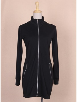 New Deluxe Black Long Sleeve Sweater Trench Coat