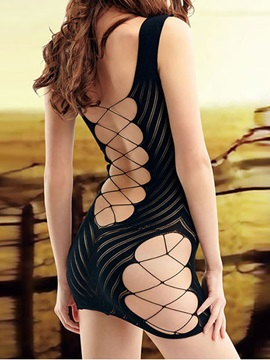 Black Hollow Fishnet Babydoll